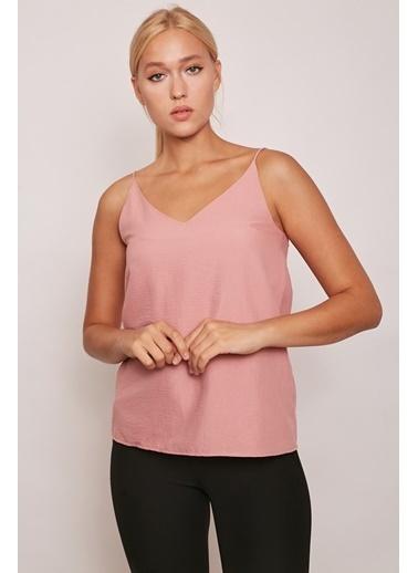 Jument İç Göstermez Viskon Poplin Kumaş İp Askılı Bluz -Somon Renkli